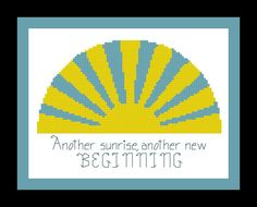 Sunrise Cross Stitch Pattern with Phrase  PDF by threadsandthings1