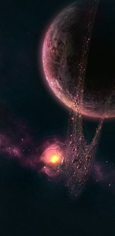 a red planet graviting in front of a giant pink nebula .. rings of dust and rocks turn around this distant and mysterious place