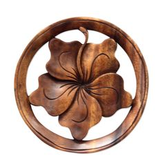 Wood relief panel - Balinese Hibiscus Flower | NOVICA