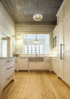 kitchen remodel ideas white cabinets wood floor tin ceiling shiplap wall ideas w. Sweet Home, Ship Lap Walls, Ceiling Design, Ceiling Detail, Ceiling Ideas, Ceiling Lighting, New Kitchen, Rustic Kitchen, Kitchen Ideas