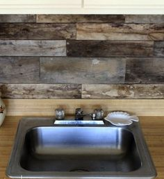 Reclaimed Wood - Backsplash Ideas - Bob Vila Salvaged wood creates rustic texture on the kitchen backsplash and offers eco-conscious renovators a way to reuse an existing material.