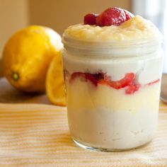 Strawberries and Lemon Curd layered with Vanilla Coconut Milk Pudding