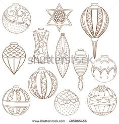 Christmas and New Year ball set. Hand drawn vector illustration of balls on light background. Winter holiday collection