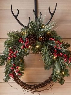 Country Christmas Faux Greenery & Grapevine Wreath from Pottery Barn #ad #country #farmhouse #wreath #antlers #berries #christmas Christmas Wreaths, Christmas Decorations, Holiday Crafts, Holiday Decor, Natural Christmas, Crafty Craft, Country Christmas, Grapevine Wreath, Pottery Barn