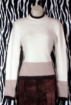 Vintage Tri-Color Angora Pullover Size S – Vintage Designer Clothing, Mock Neck, Spice Things Up, Off White, Vintage Outfits, Turtle Neck, Beige, Pretty, Cashmere