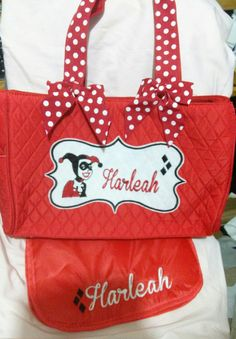 Hey, I found this really awesome Etsy listing at https://www.etsy.com/listing/232075196/harley-quinn-personalized-totediaper-bag