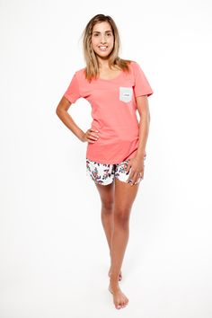 Unsinkable Mum pyjama shorts with womens Give us a T!Shirt in rose. Both 100% organic fairtrade cotton. www.thegoodnightsociety.com.au