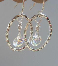 Sterling Silver Swarovski Crystal Earrings Aurora by DonnaJJewelry