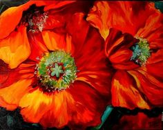 """Poppy Ring of Fire"" is an original oil painting by M Baldwin, c2005. This has been SOLD, part of M Baldwin's Popular Poppy Series 2005. Very large and very vibrant in color, it embraces an exciting composition, making the viewers eye travel across the canvas and bring them back again and again. This painting is Bold and Colorful in Reds and Oranges. There is a touch of bright yellows and thalo green. COMMISSION AN ORIGINAL LIKE THIS and it will set your decor ""ON FIRE""."