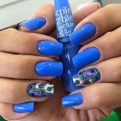 Pedicure Azul Turquesa Ideas For 2019 Colorful Nail Designs, Cute Nail Designs, Peacock Nails, Sassy Nails, Nail Polish Art, Pedicure Nail Art, Creative Nails, Blue Nails, Nails Inspiration