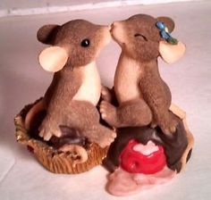 Candy Kisses Fitz Floyd Charming Tails Mice Kissing ON Melting Candy Figurine | eBay