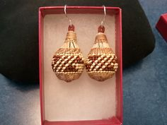 Basket Earrings with beargrass and woodwardia overlay