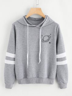 To find out about the Planet Print Varsity-Striped Hoodie at SHEIN, part of our latest Sweatshirts ready to shop online today! Tween Fashion, Teen Fashion Outfits, Trendy Outfits, Cool Outfits, Womens Fashion, Fashion Dresses, Punk Fashion, Fast Fashion, Lolita Fashion