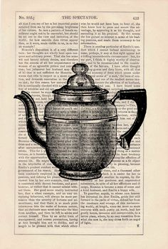 Vintage gorgeous Coffee pot printed on dictionary book page- Upcycled art