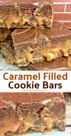 Cookie...caramel...more cookie...topped with rich chocolate ganache - these Salted Caramel Chocolate Chip Cookie Bars are out of this world! #ToffeePudding Caramel Chocolate Chip Cookies, Salted Caramel Chocolate, Chocolate Caramels, Homemade Chocolate, Chocolate Ganache, Chocolate Carmel Bars, Chocolate Heaven, Cookies Fourrés, Filled Cookies