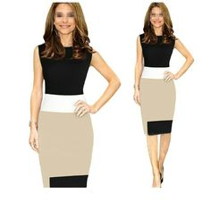 Color block pencil dress Color block pencil dress. NWOT. I would say it would best fit a sizes 6/8 even though tag says large. Slightly sheer towards the bottom of the dress. A slight bit of the stitching is visible on the waist. Dresses