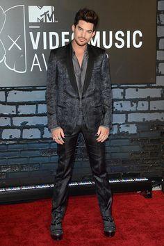 Adam Lambert rocking a black and silver Lanvin suit