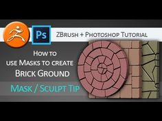 Tutorial -- how to use masks created in Adobe Photoshop to created brick looking floor in Pixologic ZBrush.