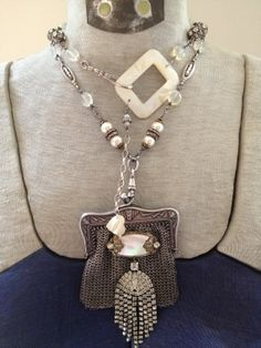 ALLURING - Vintage Silver CHAINMAILLE Purse ASSEMBLAGE by ERASevolved