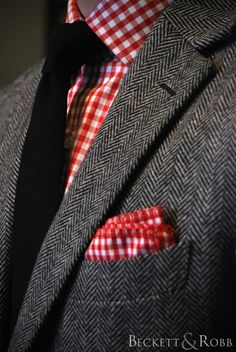 Custom suit by Beckett & Robb.  This heavy tweed drapes beautifully for how thick and warm it is.  Especially since we built a pair of trousers for this client, too!  Shirt, pocket square, and necktie also from B.