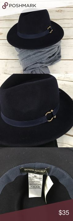 Banana Republic Fedora Hat This Fedora is a beautiful navy blue 100% Wiool with gold accent. Banana Republic Accessories Hats