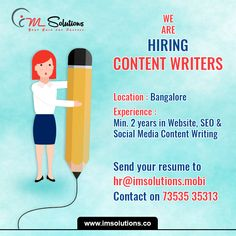 #Hiring #Bangalore #ContentWriter Apply now. Contact us today  Visit http://www.imsolutions.co/career for more information