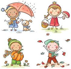 Buy Little Kids Autumn Activities by katya_dav on GraphicRiver. Happy little kids' autumn activities Art Drawings For Kids, Drawing For Kids, Cartoon Drawings, Easy Drawings, Art For Kids, Kids Vector, Vector Art, School Cartoon, Stick Art