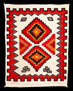 Navajo transitional blanket, wool, 1880-90