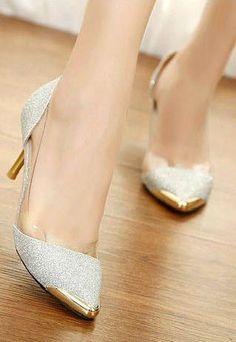 Winter Fashion Trends for Women | Low Heels | Sexy Metallic Pointed Toe Kitten Heel Shoes