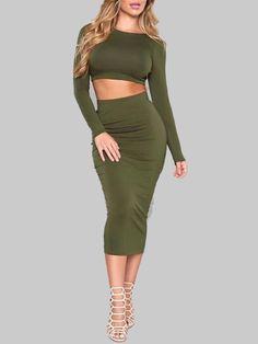 2147eba654f Sexy Long Sleeve Backless Cropped Skirt Set Casual Dresses
