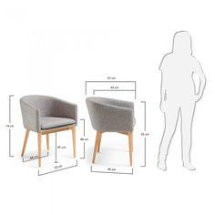 Chaise avec accoudoirs Harlan, naturel et gris clair
