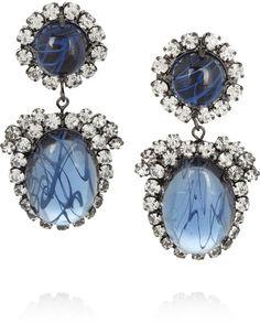 Kenneth Jay Lane Blue Rhodiumplated Swarovski Crystal Clip Earrings