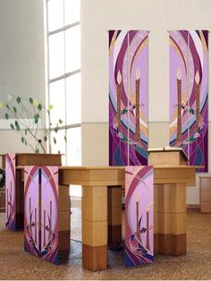 Advent collection of wall hangings and altar scarves to celebrate the season. Traditional candle and wreath symbology with modern lines. Rich shades of purples Altar Design, Church Design, Church Banners Designs, Altar Cloth, Advent Wreath, Liturgical Seasons, Church Interior, Religion, Advent