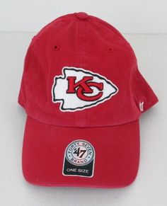 3802eeb7de2 Kansas City Chiefs Adult One Size Fits All Ball Cap  47 NFL Licensed Red  Cotton  47  KansasCityChiefs