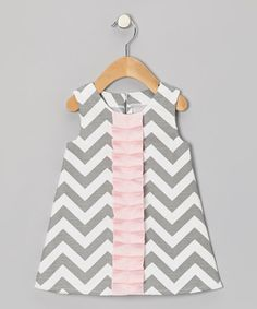 Look what I found on #zulily! Gray & Pink Zigzag Frill Dress - Infant & Toddler #zulilyfinds