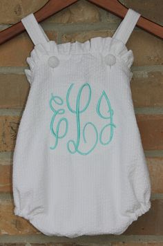 Ruffle Bubble Monogrammed White Seersucker
