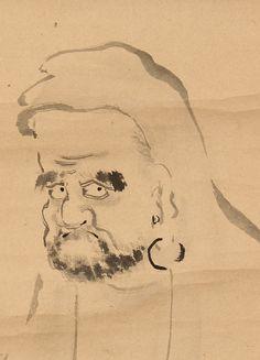 Hagino ? 萩之坊乗円 (はぎのぼうじょうえん) (1613-1675), Bodhidharma, detail.