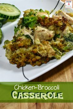 A hearty casserole with a creamy chicken sauce, topped with broccoli and cornbread stuffing. This cheap and easy recipe will feed a family of 4 for only $4.36. #easyrecipe #chickenrecipe #casserole