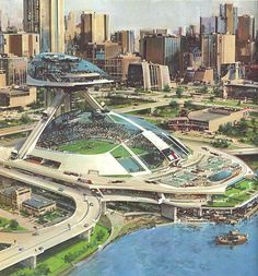 City of the future: retro sci-fi art by illustrator John Berkey Futuristic City, Futuristic Design, Futuristic Architecture, Future City, Sci Fi Stadt, Art Science Fiction, John Berkey, Sci Fi Kunst, Arte Sci Fi