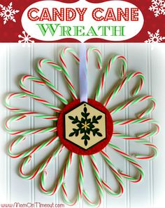 Candy-Cane-Wreath. Use a CD in the center to glue the candy canes and for added support.
