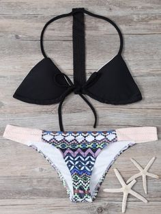 SHARE & Get it FREE | Geometric Pattern Halter Bikini Set - BlackFor Fashion Lovers only:80,000+ Items • New Arrivals Daily Join Zaful: Get YOUR $50 NOW!