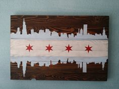 "Chicago Flag Wall Art 32""x 18"" on Etsy, $159.00"