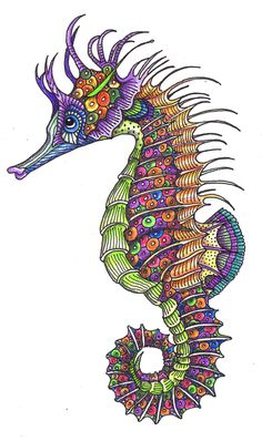 sea horse | to keep the fish I did a while ago company! | sheila arthurs | Flickr Zentangle Patterns, Zentangles, Zentangle Animal, Seahorse Art, Seahorses, Colorful Seahorse, Seahorse Drawing, Seahorse Outline, Seahorse Tattoo