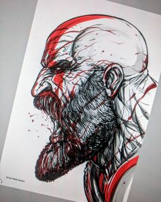 Kratos - digital stuff Using Clipart program , in cintiq 20 inch wide Tattoo Sketches, Tattoo Drawings, Drawing Sketches, Drawing Artist, Pencil Art Drawings, Cool Drawings, Tatuaje Trash Polka, Spartan Tattoo, Tatoo Art