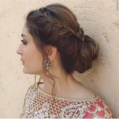 Messy Side Bun Hairstyle For Indian Wedding