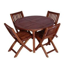 Classic Kids' 5 Piece Teak Table and Folding Chair Set by JazTy. $569.99. Complete set with round teak table and four chairs. Factory stained with teak oil stain. Ideal for indoor or outdoor use. Solid top quality Teak, Just like adult versions. Save money with purchase of a set. JT-TC-1004-1006-4 Features: -Table and chair set.-Material: Solid teak wood.-Round shape.-Value set pricing.-Factory stained with teak oil stain.-Ideal for indoor or outdoor use.-Hand crafted in Ind...