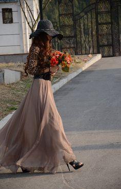 Women's chiffon aline skirt bohemian maxi skirt long skirt summer full skirt beach skirt (156)