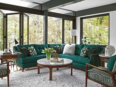 Teal sectional from the midcentury modern collection: Take Five by Lexington Home brands. #CustomSectional