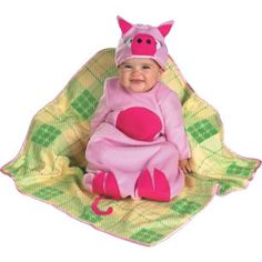 The Piggy in a Blanket is perfect for your child this Halloween. The Piggy in a Blanket Costume includes a soft pink bunting with attached curly tail. A matching hat and plaid blanket complete the adorable squealers look. Babys 1st Halloween, Trendy Halloween, Halloween Stuff, Pig Costumes, Animal Halloween Costumes, Piggies In A Blanket, Pink Bunting, Baby Pigs, Plaid Blanket