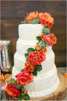 Dallas wedding photographer, 4-tier white wedding cake with orange flowers, Rustic Ranch Wedding | Thistle Springs Ranch, Mary Fields Photography